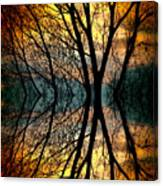 Sunset Tree Silhouette Abstract 3 Canvas Print