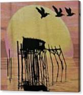 Sunset Wall Mural In Cedar Key, Fl Canvas Print