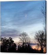 Sunset With Crescent Moon Canvas Print