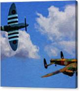 Supermarine Spitfire Mk1 And Avro Lancaster - Oil Canvas Print