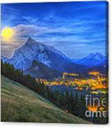 Supermoon Rising Over Mount Rundle Canvas Print