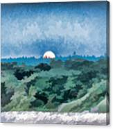 Supermoon Rising - Painted Effect Canvas Print