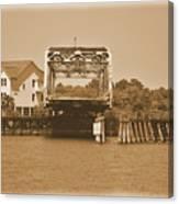 Surf City Vintage Swing Bridge In Sepia 1 Canvas Print