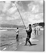 Surf Fishing At Ocean Beach Canvas Print