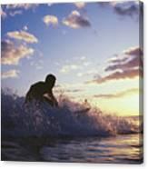 Surfer At Sunset Canvas Print