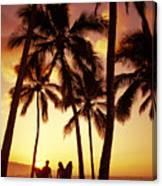 Surfer Couple Canvas Print