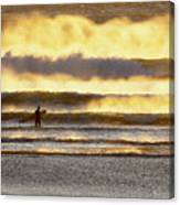 Surfer Faces Wind And Waves, Morro Bay, Ca Canvas Print