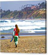 Surfer Girl At Seaside, Ca Canvas Print