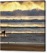 Surfer Heads Into The Waves And Mist Canvas Print