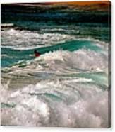 Surfer On Surf, Sunset Beach Canvas Print