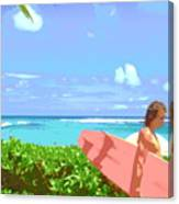 Surfer Walking By Canvas Print