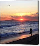 Surfers At Sunset Canvas Print