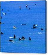 Surfers Waiting And Waiting Canvas Print