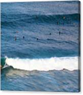 Surfing At Honolua Bay Canvas Print