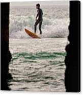 Surfing By The Pier Canvas Print