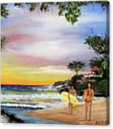 Surfing In Rincon Canvas Print