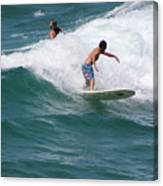 Surfing The White Wave At Huntington Beach Canvas Print