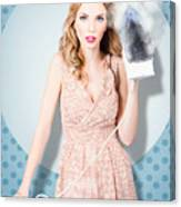 Surprised Housewife With Burnt Out Ironing Board Canvas Print