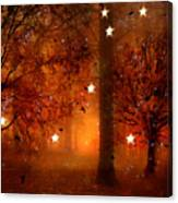 Surreal Fantasy Autumn Woodlands Starry Night Canvas Print