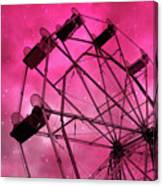 Surreal Fantasy Dark Pink Ferris Wheel Carnival Ride Starry Night - Pink Ferris Wheel Home Decor Canvas Print