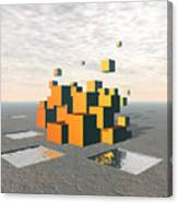 Surreal Floating Cubes Canvas Print