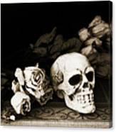 Surreal Gothic Dark Sepia Roses And Skull  Canvas Print