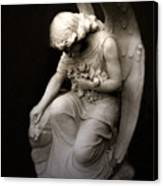 Surreal Sad Angel Kneeling In Prayer Canvas Print