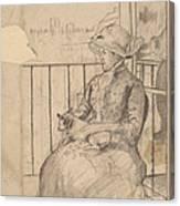 Susan On A Balcony Holding A Dog [recto] Canvas Print