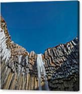Svartifoss Waterfall, Iceland Black Canvas Print