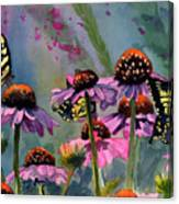 Swallowtails And Cone Flowers Canvas Print