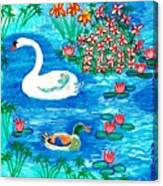 Swan And Duck Canvas Print