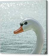 Swan Boat In The Lake Canvas Print