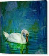 Swan On A Blue And Green Lake Canvas Print