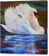 Swan Wildlife Painting Canvas Print