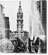Swann Memorial Fountain In Black And White Canvas Print
