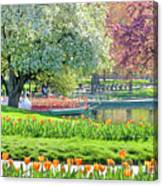 Swans And Tulips 1 Canvas Print