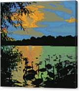 Swans At Sunset Canvas Print