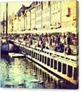Swans In Nyhavn Canvas Print