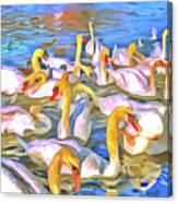 Swans Pop Art Canvas Print
