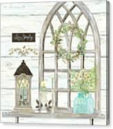 Sweet Life Farmhouse 3 Gothic Window Lantern Floral Shiplap Wood Canvas Print