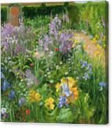 Sweet Rocket - Foxgloves And Irises Canvas Print
