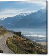 Swerving Road In Valtellina, Italy Canvas Print