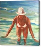 Swimmer In Blue Canvas Print