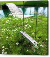 Swing In The Daisies With Bridge Canvas Print