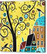 Swirl Tree Two Birds And Houses Canvas Print