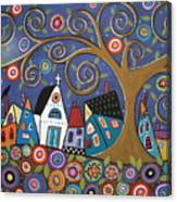Swirl Tree Village Canvas Print