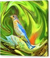 Swirling Bluebird Abstract Canvas Print