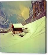 Switzerland Alps Grutschap Alpine Meadow Winter  Canvas Print