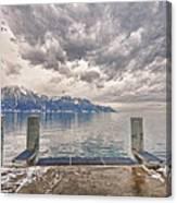 Switzerland, Montreux, Dock On The Lake. Canvas Print