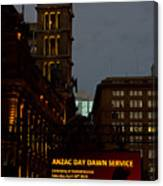 Sydney Clock On Anzac Day At Dawn Canvas Print